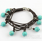 Lovely Style Multi Strands Round Burst Pattern Turquoise and Garnet Leather Bracelet