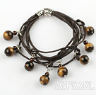 Lovely Style Multi Strands Round Tiger Eye and Garnet Leather Bracelet
