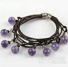 Lovely Style Multi Strands Round Amethyst and Garnet Leather Bracelet