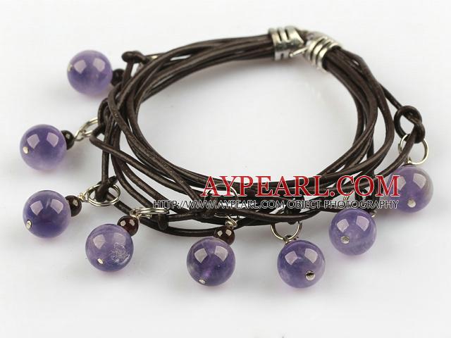 Lovely Style Multi Strands Round Amethyst and Garnet Leather Bracelet