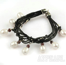 Wholesale Lovely Style Multi Strands White Freshwater Pearl and Garnet Leather Bracelet
