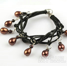 Wholesale Lovely Style Multi Strands Brown Freshwater Pearl and Garnet Leather Bracelet