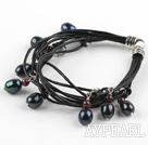 Wholesale Lovely Style Multi Strands Black Freshwater Pearl and Garnet Leather Bracelet