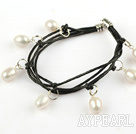 Lovely Style Multi Strands White Freshwater Pearl Leather Bracelet