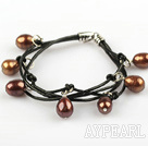 Wholesale Lovely Style Multi Strands Brown Freshwater Pearl Leather Bracelet