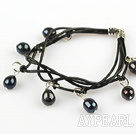 Lovely Style Multi Strands Black Freshwater Pearl Leather Bracelet