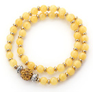 Double Rows Yellow Jade and Golden Color Beads Stretch Bangle Bracelet with Yellow Rhinestone Ball
