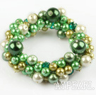 Green Series Assorted Round Shell Beads Stretch Bangle Bracelet