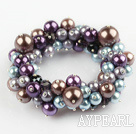 Wholesale Assorted Multi Color Round Shell Beads Stretch Bangle Bracelet