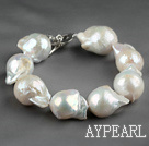 Big stil 12 * 18mm Natural Nucleus Pearl armbånd med hjerte form Toggle Clasp