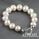 12-14mm Round Natural White Ferskvann Pearl Beaded armbånd