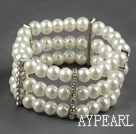Three Rows 8mm Round White Shell Beads and Rhinestone Stretch Bangle Bracelet
