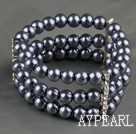 Three Rows 8mm Round Dark Gray Shell Beads and Rhinestone Stretch Bangle Bracelet