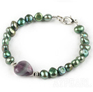 Wholesale Peacock Freshwater Pearl and Fluorite Bracelet with Lobster Clasp