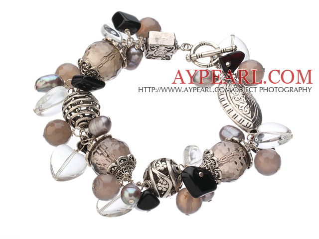 Vintage Style Heart Shape Clear Crystal Natural Smoky Quartz Gray Agate Pearl Tibet Silver Accessory Charm Bracelet With Toggle Clasp