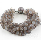 Wide and Big Style 6-7mm Gray Agate Weaved Bracelet