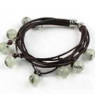 Wholesale Multi Strands Green Rutilated Quartz and Garnet Bracelet with Leather Cord