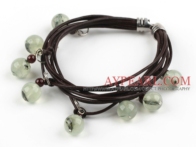 Multi Strands Green Rutilated Quartz and Garnet Bracelet with Leather Cord