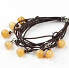 Multi Strand Old Yellow Jade and Garnet Bracelet with Leather Cord