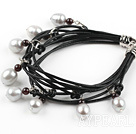 Wholesale Multi Strands White Freshwater Pearl and Garnet Bracelet with Leather Cord