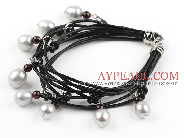 Multi Strands White Freshwater Pearl and Garnet Bracelet with Leather Cord