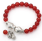 Wholesale 8mm Round Red Carnelian Stretch Bangle Bracelet with Tibet Silver Fish Accessories