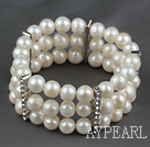 8.5-9mm Three Strands A Grade Natural White Freshwater Pearl Stretch Bangle Bracelet with Rhinestone