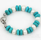 Wholesale Classic Design Abacus Shape White Freshwater Pearl and Turquoise Bracelet