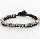 Fashion Style Tiber Silver Beads Leather Bracelet with Metal Clasp