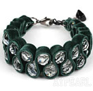 Fashion Style Clear Crystal and Dark Green Velvet Ribbon Woven Bold Bracelet with Extendable Chain