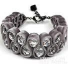 Fashion Style Clear Crystal and Gray Velvet Ribbon Woven Bold Bracelet with Extendable Chain