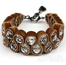 Wholesale Fashion Style Clear Crystal and Coffee Color Velvet Ribbon Woven Bold Bracelet with Extendable Chain