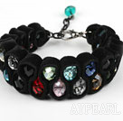 Fashion Style Multi Color Crystal and Black Velvet Ribbon Woven Bold Bracelet with Extendable Chain
