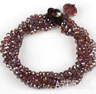 Suvite Multi Red Purple Faceted cu brățară de cristal colorat