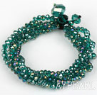 Multi Strands Faceted Green with Colorful Crystal Bracelet