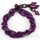 Multi Strands 4mm Fasetterte Purple Agate Beaded armbånd
