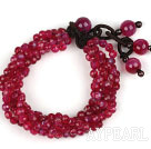 Wholesale Multi Strands 4mm Faceted Rose Pink Agate Beaded Bracelet