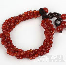 Wholesale Multi Strands 4mm Faceted Red Carnelian Agate Beaded Bracelet
