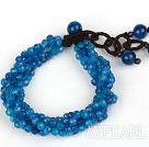 Wholesale Multi Strands 4mm Faceted Blue Agate Beaded Bracelet