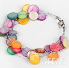 Multi Strand Assorted Multi Color Shell armbånd med Silver Color Wire