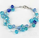 Wholesale Multi Strand Faceted Blue Crystal Bracelet with Silver Color Wire