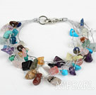 Multi Strand Assorted Multi Color Multi Stone Bracelet with Silver Color Wire