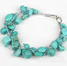 Wholesale Multi Strand Assorted Turquoise Bracelet with Silver Color Wire