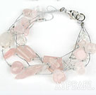 Wholesale Multi Strand Pink Series Rose Quartz and Clear Crystal Bracelet with Silver Color Wire