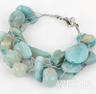 Wholesale Multi Strand Amazon Stone Bracelet with Silver Color Wire