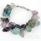 Wholesale Multi Strand Rainbow Fluorite Bracelet with Silver Color Wire