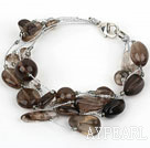 Multi Strand Smoky Quartz Armbånd med Silver Color Wire