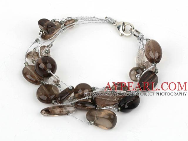 Multi Strand Smoky Quartz Bracelet with Silver Color Wire
