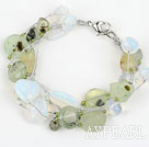 Wholesale Multi Strand Prehnite and Opal Bracelet with Silver Color Wire