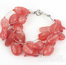 Wholesale Multi Strand Cherry Quartz Bracelet with Silver Color Wire
